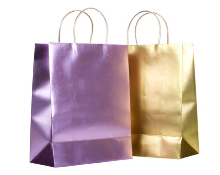shopping bags: Close-up of two shopping bags Stock Photo