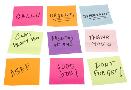 Text written on adhesive notes photo