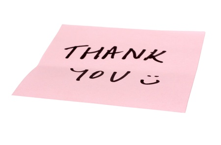 mnemonic: Text Thank You written on an adhesive note