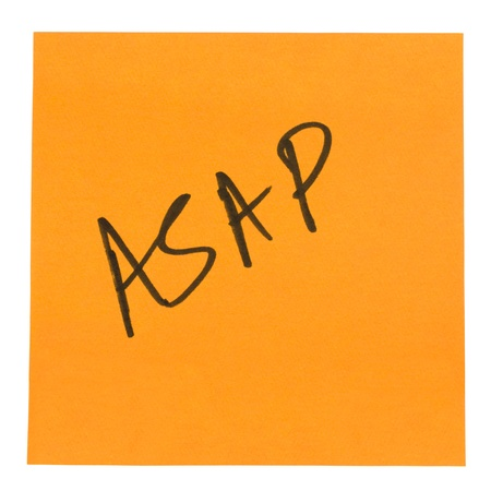 mnemonic: Word ASAP written on an adhesive note