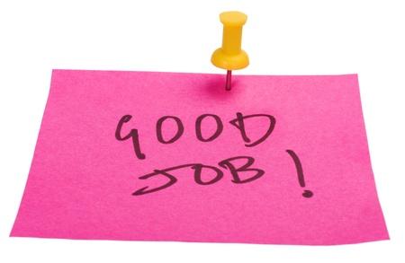 good job: Good Job text written on an adhesive note Stock Photo
