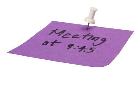 mnemonic: Word Meeting written on an adhesive note Stock Photo