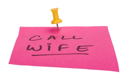 mnemonic: Text Call Wife written on an adhesive note