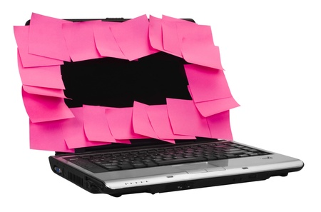 mnemonic: Adhesive notes attached on a laptop screen Stock Photo