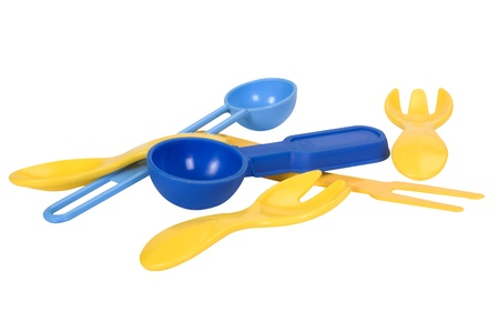 disarrangement: Close-up of assorted spoons and forks Stock Photo