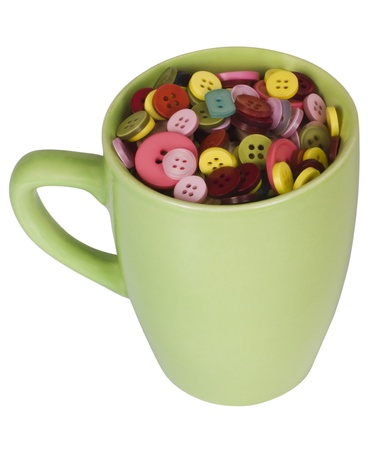 peo: Close-up of a cup full of buttons Stock Photo