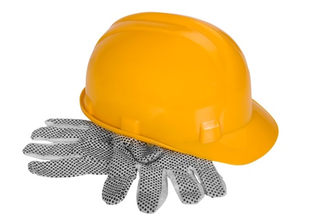 protective: Close-up of protective gloves and a hardhat