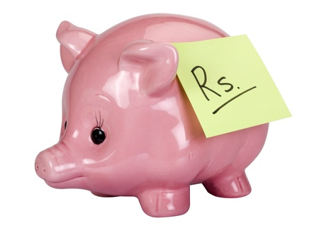Rupees sign adhesive note stuck on a piggy bank