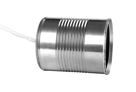 resourceful: Close-up of a tin can phone