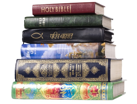 hinduism: Stack of religious books