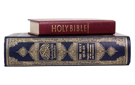 western script: Close-up of the Koran and the Bible