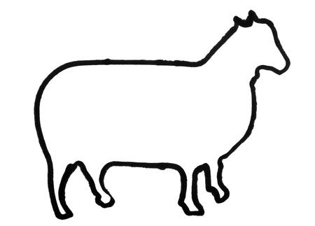 Outline of a sheep Reklamní fotografie