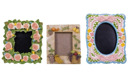 Close-up of assorted picture frames photo