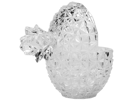 Close-up of a pineapple shaped crystal bowl with a lid