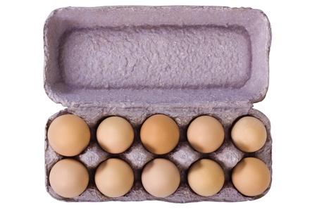 Close-up of a carton of eggs photo