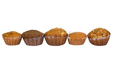 Assorted muffins in a row photo