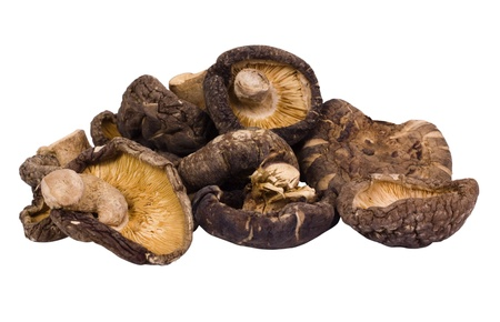 Close-up of a heap of dried mushrooms