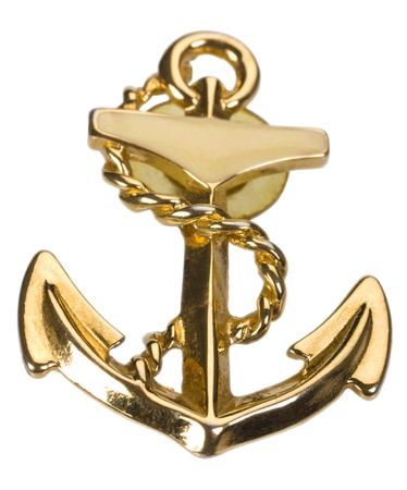 Close-up of an anchor shaped brooch