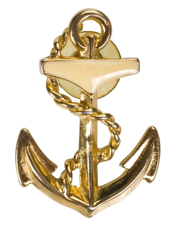 Close-up of an anchor shaped brooch photo