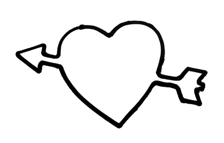 Outline of a heart with arrow photo