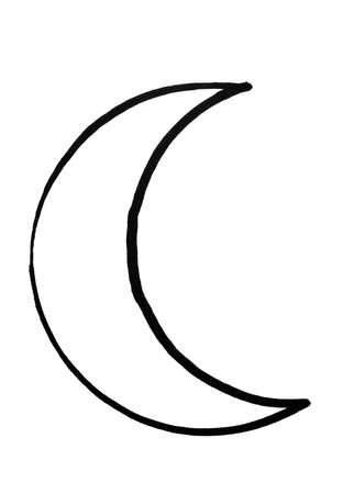 crescent: Outline of crescent moon Stock Photo
