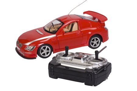 Remote controlled toy car with a game controller Stock Photo