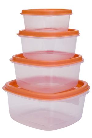 Close-up van een stapel plastic containers