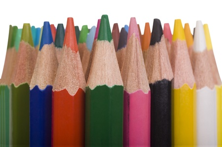 Close-up of a bundle of colored pencils photo