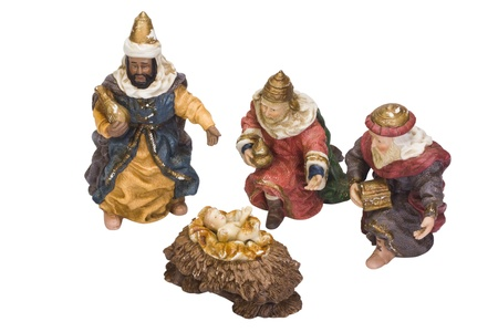 Figurines of kings near baby Jesus 版權商用圖片