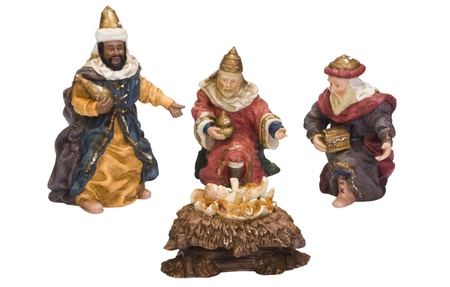 named person: Figurines of kings near baby Jesus Stock Photo