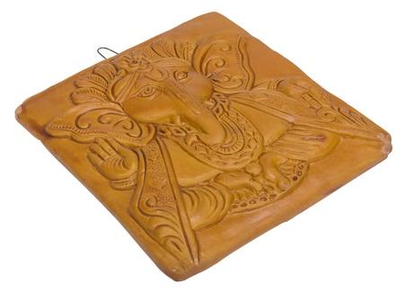 Lord Ganesha engraved on a wooden block Foto de archivo