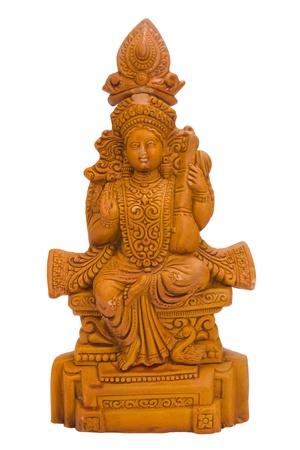 Close-up van een beeldje van de godin Saraswati