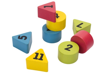 Close-up of number blocks in geometric shapes Stock Photo - 10241695