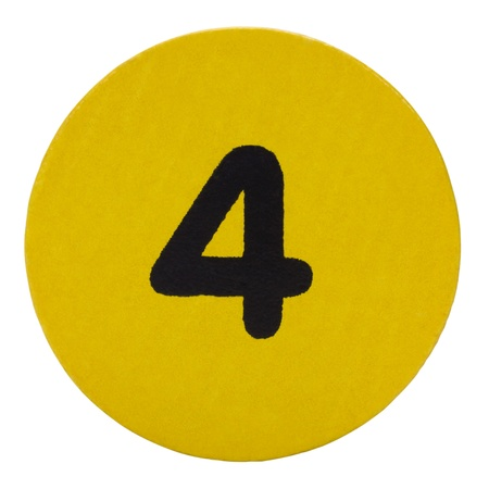 Number 4 in a circular shape block photo