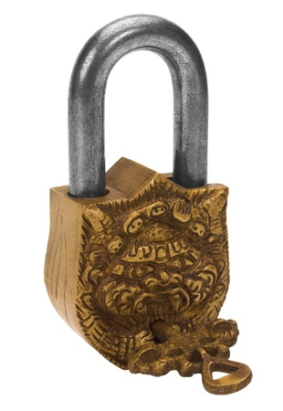 Close-up of a padlock with a key photo