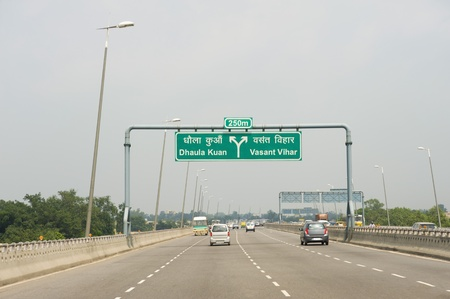 road marking: Vehicles on a highway, National Highway 8, New Delhi, India