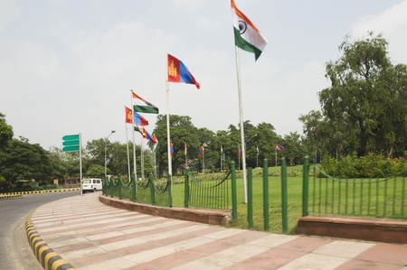 Mongolian and Indian flags  on a roundabout, New Delhi, India photo