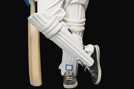 low section view: Low section view of a cricket batsman standing at a non-striker end Stock Photo