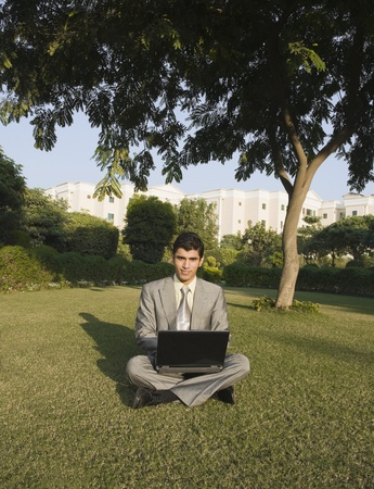 trees photography: Businessman using a laptop in a park