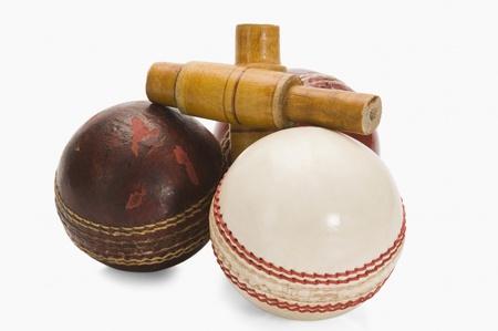cricket ball: Close-up of cricket balls and bails Stock Photo