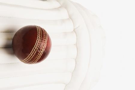 クリケット パッドのクリケット ボールのクローズ アップ 写真素材