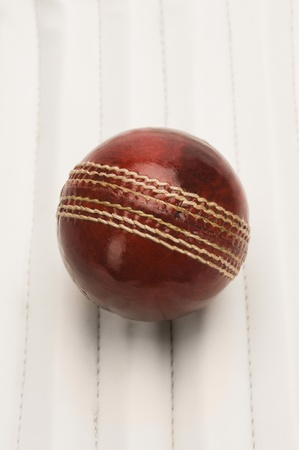 Close-up of a cricket ball on a cricket pad 写真素材
