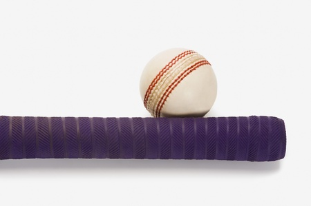 things that go together: Close-up of a cricket ball with a bat