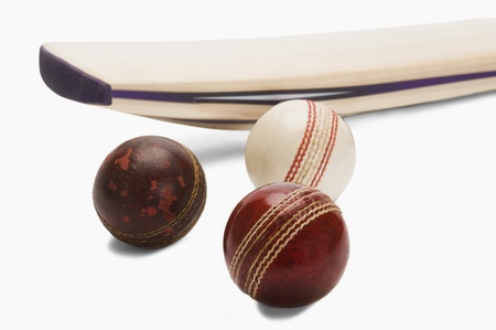 things that go together: Close-up of cricket balls with a bat
