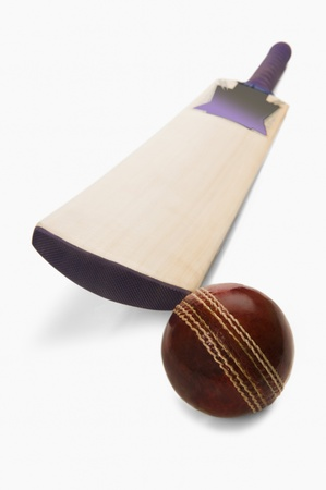 Close-up of a cricket ball with a bat Stock Photo - 10236143
