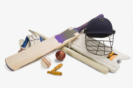 Close-up of cricket equipment photo