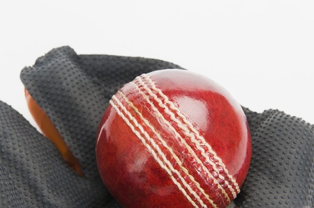 wicket: Close-up of a cricket ball on a wicket keeping glove