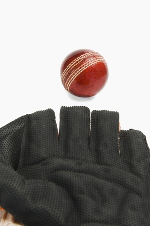 wicket: Close-up of a cricket ball and a wicket keeping glove Stock Photo