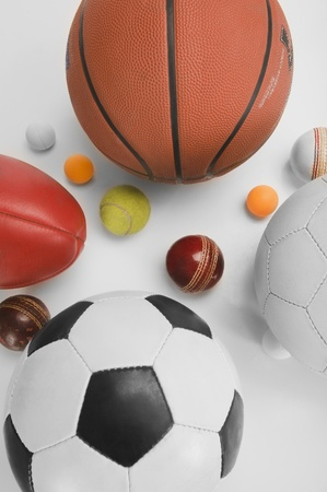 High angle view of assorted sports balls photo