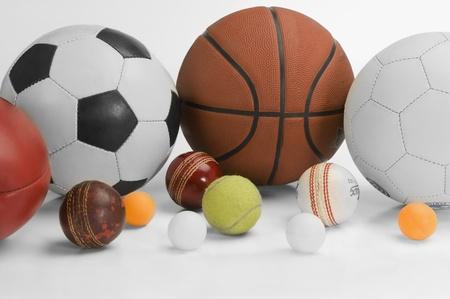 cricket ball: Close-up of assorted sports balls